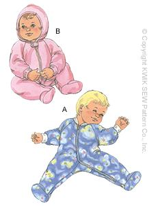 Kwik Sew� Baby Sleeper Pattern-baby, pattern, patterns, pajamas, sleeper, sleepers, pattern for baby, baby patterns, pajama