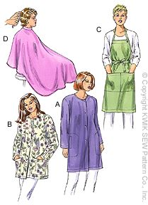Kwik Sew� Smock, Apron & Cape Pattern-apron pattern, smock pattern, barber cape, patterns for aprons, apron patterns, aprons, salon