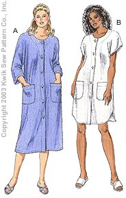 Kwik Sew� Misses Button Robes Pattern-robe pattern, robe, pattern, pattern for, kwik sew, fleece, knit