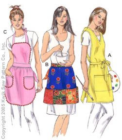 Kwik Sew� One-Size Aprons Pattern-apron pattern, smock pattern, half apron pattern, patterns for aprons, apron patterns, aprons