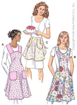 Kwik Sew� Aprons Pattern-apron pattern, patterns for aprons, pattern for an apron, back ties, half apron, vintage apron, retr