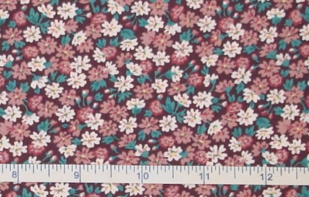 Fabric - Burgundy Daisy Calico-Fabric - Burgundy Daisy Calico