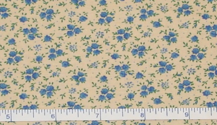 Fabric - Blue Roses Calico / Tea-Stained-Fabric - Blue Roses Calico / Tea-Stained