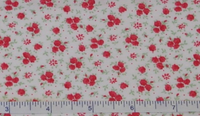 Fabric - Red Roses Calico-Fabric - Red Roses Calico
