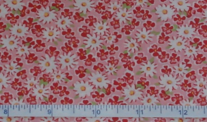Fabric - Pink Daisy Calico-Fabric - Pink Daisy Calico