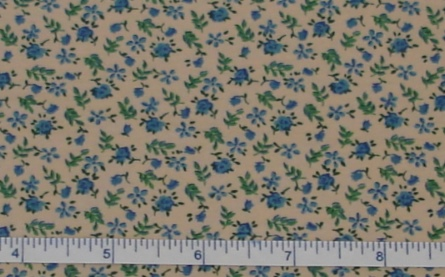 Fabric - Blue Rosebud Calico / Tea-Stained-Fabric - Blue Rosebud Calico / Tea-Stained