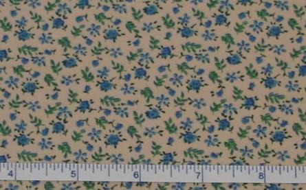 Fabric - Blue Rosebud Calico / Tea-Stained