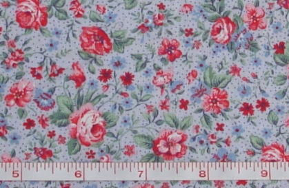 Fabric - CCF - blue Wild Rose Floral, bty