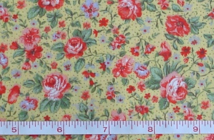 Fabric - CCF - yellow Wild Rose Floral, bty