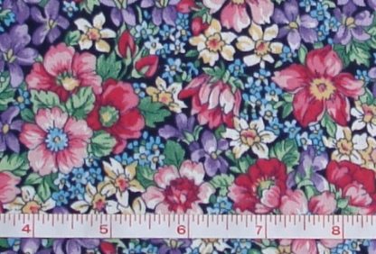 Fabric - CCF - navy Flower Patch Garden, bty-Fabric - CCF - navy Flower Patch Garden, bty