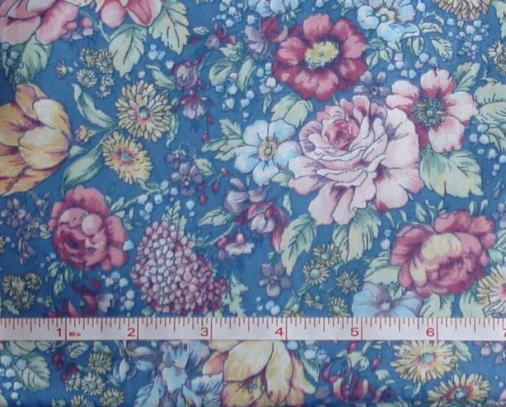 Fabric - CCF - Blue Roses, bty-Fabric - CCF - Blue Roses, bty