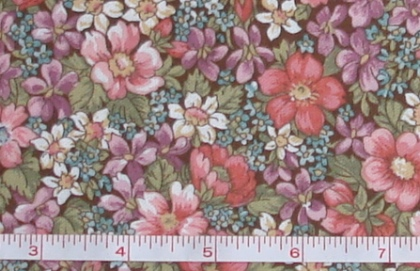 Fabric - CCF - brown Flower Patch Garden, bty-Fabric - CCF - brown Flower Patch Garden, bty