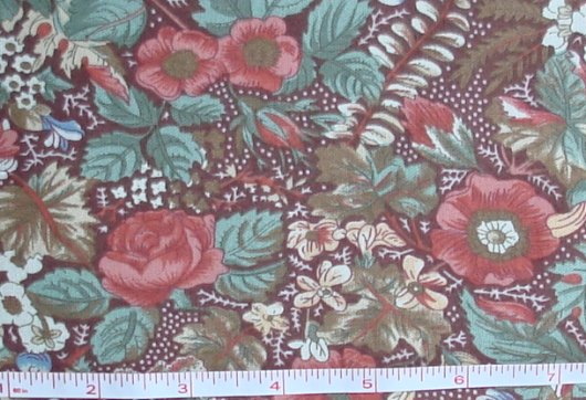 Fabric - CCF - brown Flower Pot Floral, bty-Fabric - CCF - brown Flower Pot Floral, bty