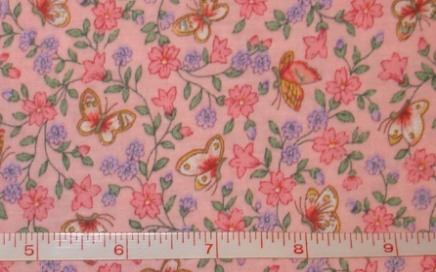 Fabric - Calico Butterflies on Pink-Fabric - Calico Butterflies on Pink