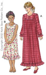 Kwik Sew� Girl�s Nightgown Pattern-kwik sew, girls nightgowns, nightgown pattern, patterns, girls, nightgown, nightgowns, pajamas, nigh