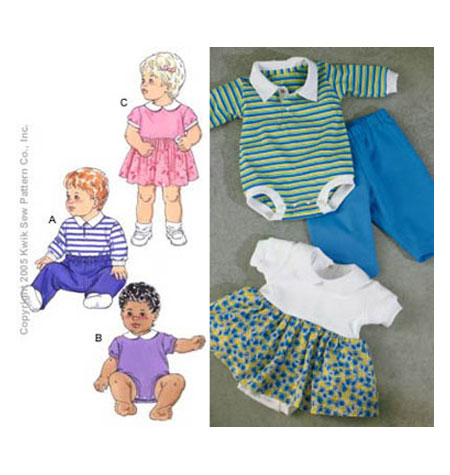 Kwik Sew Baby Bodysuits, Dress & Pants Pattern