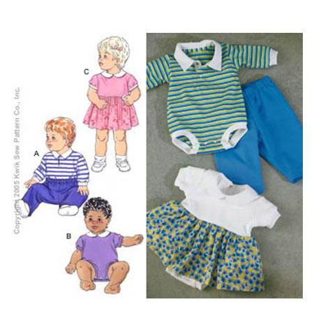 Kwik Sew Baby Bodysuits, Dress & Pants Pattern