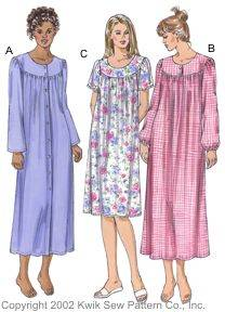 Kwik Sew� Ladies Nightgowns Pattern-kwik sew, kwiksew, nightgown, ladies nightgown, nightgown pattern, old fashion, old fashioned, modes