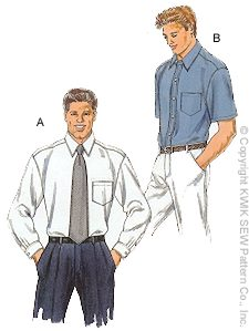 Kwik Sew� Men's Dress Shirt Pattern-kwik sew, kwiksew, mens dress shirt pattern, shirt pattern, mens, shirt patterns, dress shirt, patte