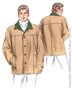 Kwik Sew� Men's Jacket Pattern-Kwik sew, kwiksew, mens jacket, coat pattern, barn jacket pattern, jacket patterns, mens, pattern, p