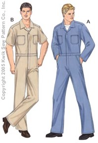 Kwik Sew� Men's Coveralls Pattern-coveralls, overalls, mechanic, mechanics, suit, pattern, patterns, sew, sewing, coverall