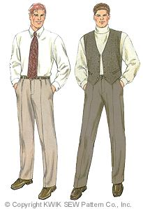 Kwik Sew� Mens Pants & Vest Pattern-kwik sew, kwiksew, mens pants, mens vest, pattern, sewing pattern, slacks, patterns, pleated front,