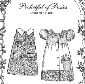 "Dolls - Pocket Full of Posies - clothes for 18"" dolls-Dolls - Pocket Full of Posies - clothes for 18"