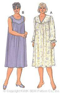 Kwik Sew PlusSize Nightgown Pattern-Plus size, nightgown, nightgowns, plus size nightgown pattern, Kwik Sew, modest, modesty, sewing pat