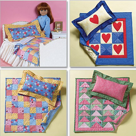 Doll Bed, Quilts & Pillows