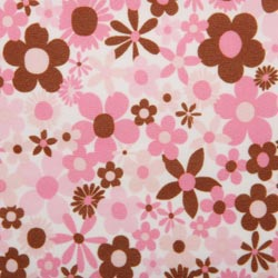 PUL Fabric - Pink and Brown Flowers print