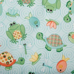 PUL Fabric - Green Turtle Frog Print-PUL Fabric - Green Turtle Frog