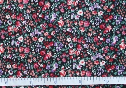 Fabric - CCF - black Flower Bud Garden, bty-Fabric - CCF - black Flower Bud Garden, bty