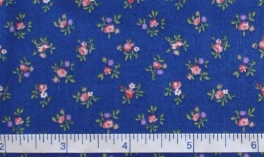 Fabric - Tiny Flowers on blue, bty-Fabric - Tiny Flowers on blue, bty