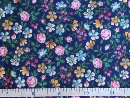 Fabric - CCF - navy Lily Garden, bty