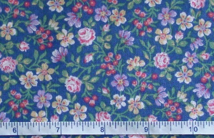 Fabric - CCF - blue Lily Garden, bty