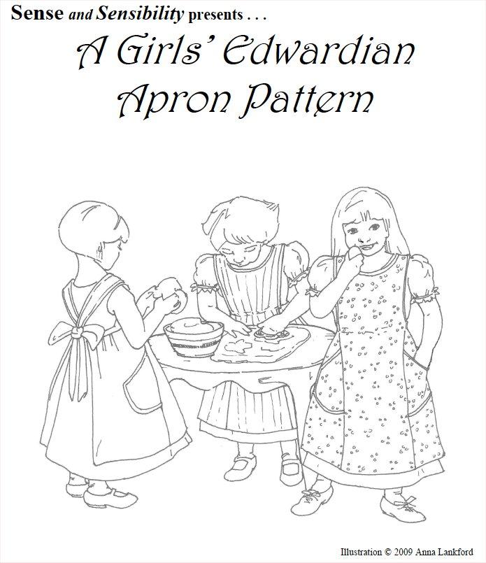 Girls Edwardian Apron Pattern, sizes 2-14