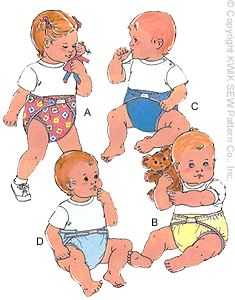 Kwik Sew� Baby Diaper pattern - Fitted & All-in-One