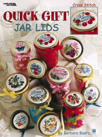 Quick Gifts Jar Lids - Cross stitch