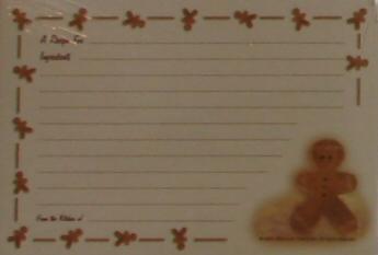 Recipe Cards - Gingerbread Man