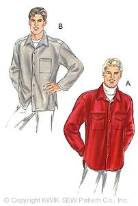 Kwik Sew� Men's Shirt Jacket Pattern-Kwik Sew, Kwiksew, flannel shirt, camp shirt, pattern, patterns, mens shirt, mens shirts, sew, sewin