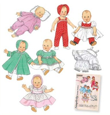 "Baby Doll Clothes in 3 sizes to fit 12"" - 22"" dolls"