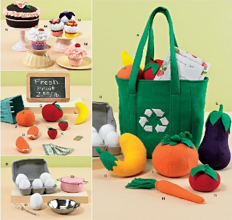 Felt Play Food, Egg Carton & Bag