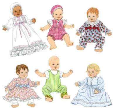 "Baby Doll Wardrobe in 3 sizes to fit 12""-22"" Dolls"