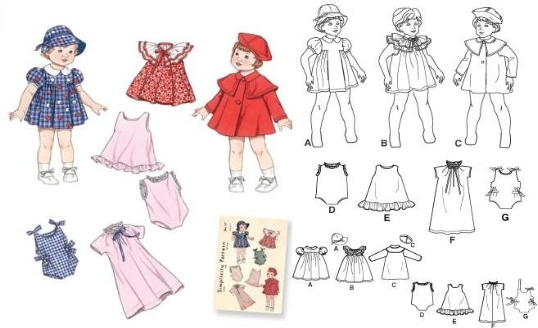Baby Doll - Doll Clothes in 3 sizes-Baby Doll - Doll Clothes in 3 sizes