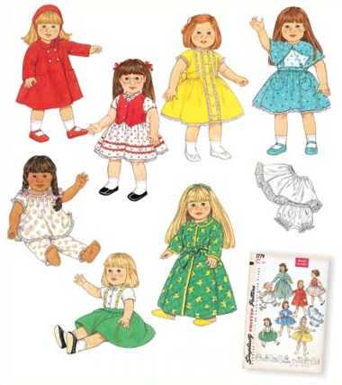 "18"" Doll Wardrobe - Dresses, Aprons & Nightgowns"