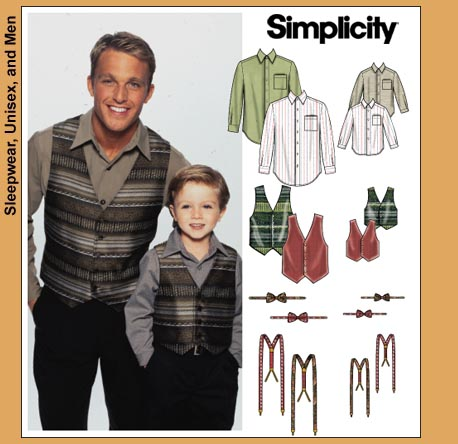 Matching Mens & Boys Shirt, Vest & Suspenders