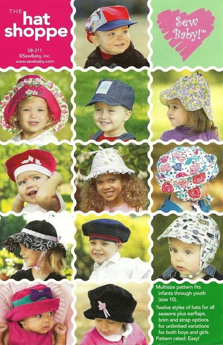 Hat Shoppe Pattern-hat patterns, baby hats, muffin hat pattern, sewbaby, sew baby, pattern, patterns, hats, bonnets